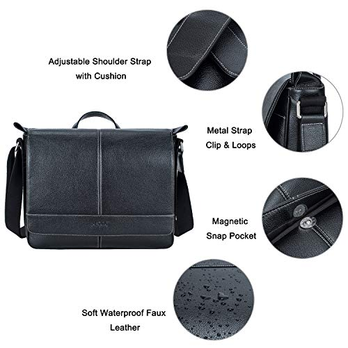 S-ZONE 14 inch Laptop Messenger Bag for Men, Microfiber Leather Flapover Briefcase Business Crossbody Bag by S-ZONE (Image #4)