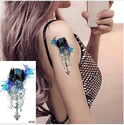 ruofengpuzi Adesivo tatuaggioModa 3D Acuarela Bosque Ancla Flecha ...