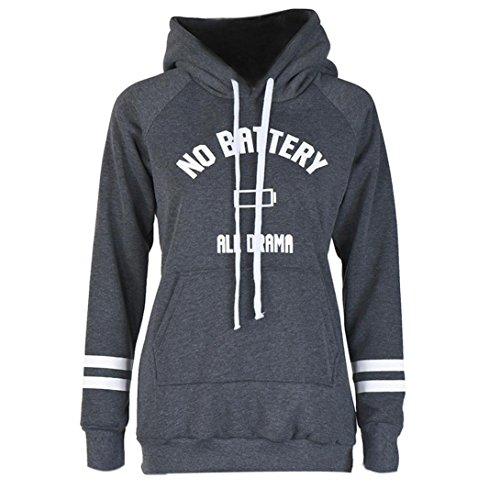 Sinma Ladies' Top Blouse, Autumn Winter Letters Print Hooded Sweatshirt (M, Grey) (No Hassle Linen Shirt Jacket)