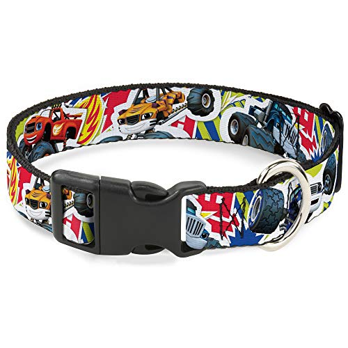 Cat Collar Breakaway Blaze 5 Trucks Flames Collage Green Multi Color 8 to 12