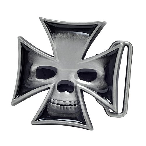 Buckle Rage Adult Mens Maltese Iron Cross Skull Biker Enamel Belt Buckle - Buckle Skull Biker Belt