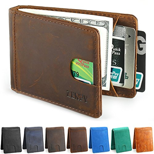 Zenpy RFID Blocking Bifold Front Pocket Wallets Money Clip Slim Wallet Minimalist Wallet for Men - Made From Crazy Horse Full Grain Leather (Chocolate Brown)