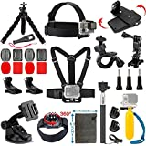 Vanwalk 20-in-1 Accessories Kit for Gopro HD Hero 4/3+/3/2/1 Camera, Head Belt Strap Mount + Chest Belt Strap Mount + Extendable Handle Monopod + Car Suction Cup Mount Holder + Floating Handle Grip