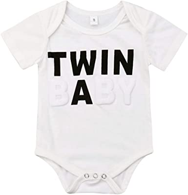 Newborn Infant Baby Boys Girls Short Sleeve Bodysuit Twins Romper Clothes Outfit