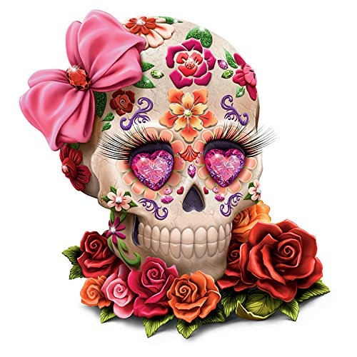 The Hamilton Collection Margaret Le Van Sugar Skull Art Figurine with Faux Gems and Fabric Eyelashes