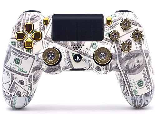 Sony PS4 DualShock 4 PlayStation 4 Wireless Controller - Custom Money Talks Design with Real 9mm Bullet Buttons and Shotgun Thumbsticks Un-Modded (Ps4 Talk)