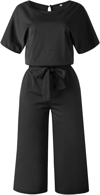Mintlimit holgados pantalones de pierna ancha Mono de mujer de cintura alta de manga corta