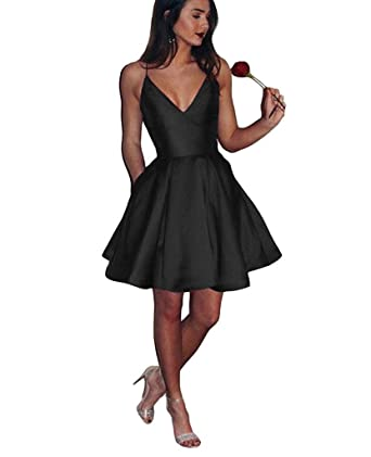 Sophie Kate Cheap Spaghetti Short Prom Dress for Girls Satin Homecoming Dress