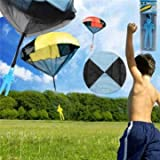 Sky Dive Parachute Plane & Parachute Toys - 5pcs Random Color Skydiver Kids Toy Hand Throwing Parachute Kite Outdoor Play Game Toy