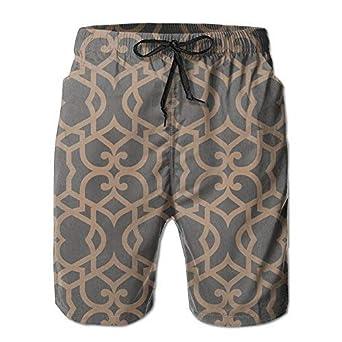 YINGWANG Fretwork Textured Mens//Boys Casual Quick-Drying Bath Suits Elastic Waist Beach Pants with Pockets