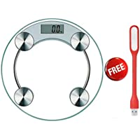 Digital Weight Machine With Step-On technology And LCD Display, Round Shape Toughened Glass With Weight Capacity Up To 180 kg Include Free USB LED Light