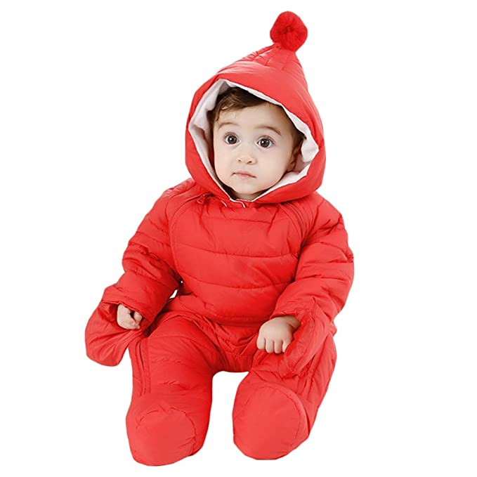 bc8758cde Amazon.com: Happy childhood Unisex Baby Winter Hooded Down Jumpsuit  Snowsuit Romper Warm Overall Infant Bodysuit Onesies: Clothing