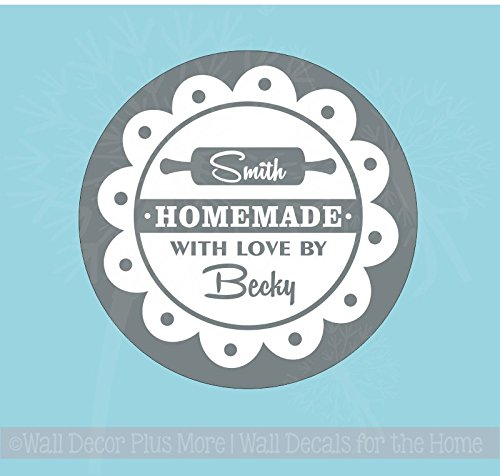 """Personalized Vinyl Decal Sticker Stencil for Etching on Glass, 8"""" Homemade with Love Circle"""