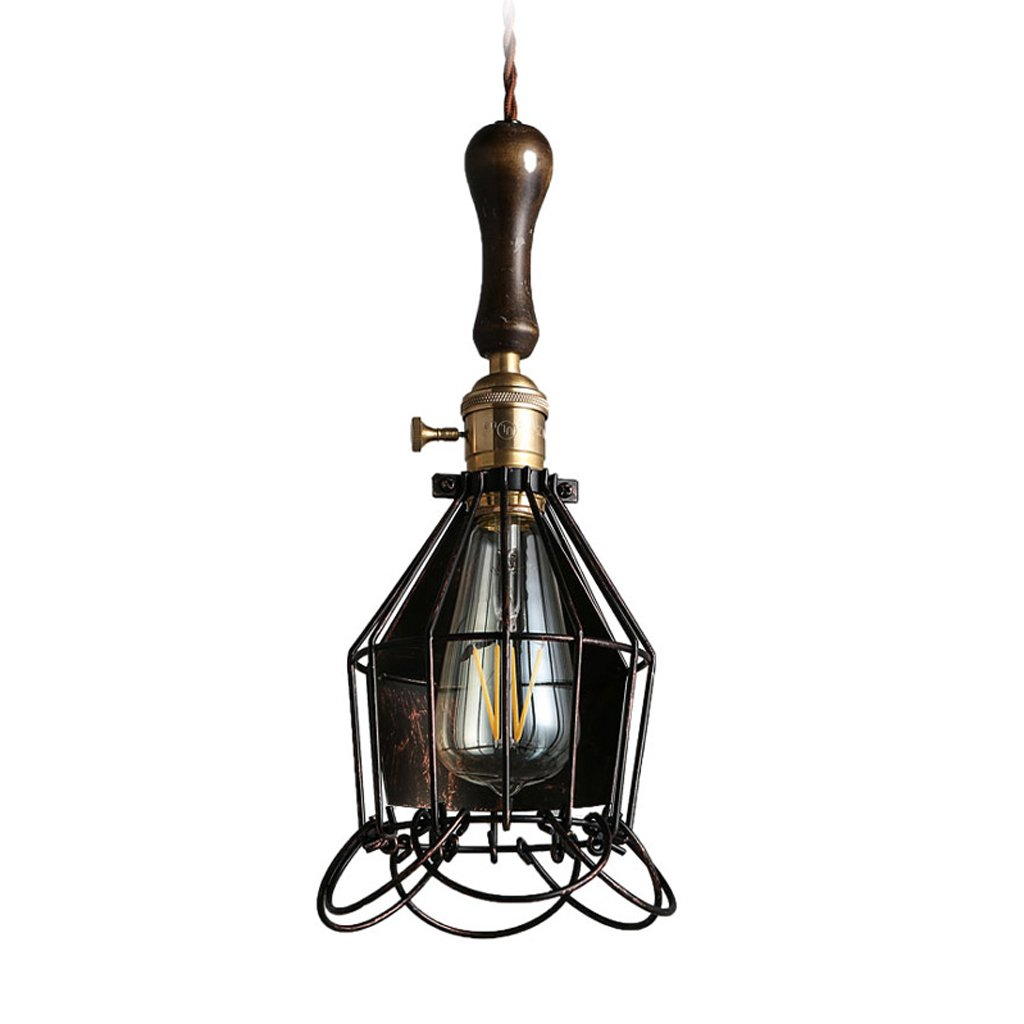 Wsxxn American Country Vintage Wrought Iron Chandelier Creative Small Iron Frame Bar Window Droplight Wooden Handle Single Head Cafe Restaurant Bar Iron Cage Suspended Lamp
