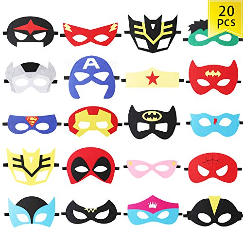Superhero Party Masks,20 Pack Felt Mask Superheroes Birthday Party Supplies Cosplay Toy for Children/Kids/Adults (20 Pack)