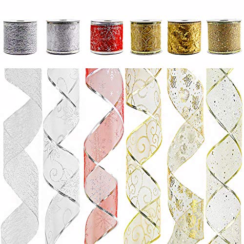 """VATIN Wired Christmas Ribbon, Assorted Swirl Sheer Organza Glitter Crafts Gift Wrapping Festive Ribbons Christmas Design Decorations, 30 Yards (6 Roll x 5 yd) by 2-1/2"""", Silver/Gold #1"""