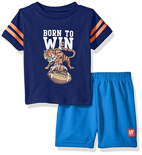 Bon Bebe Baby Boys' 2 Pc Crew Neck Tee and Mesh Short Set, Born to Wine Blue 18 ()