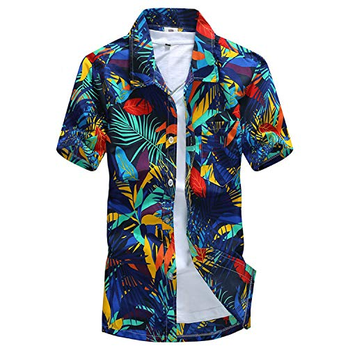 Men Shirt Palm Tree Print Beach Hawaiian Shirt
