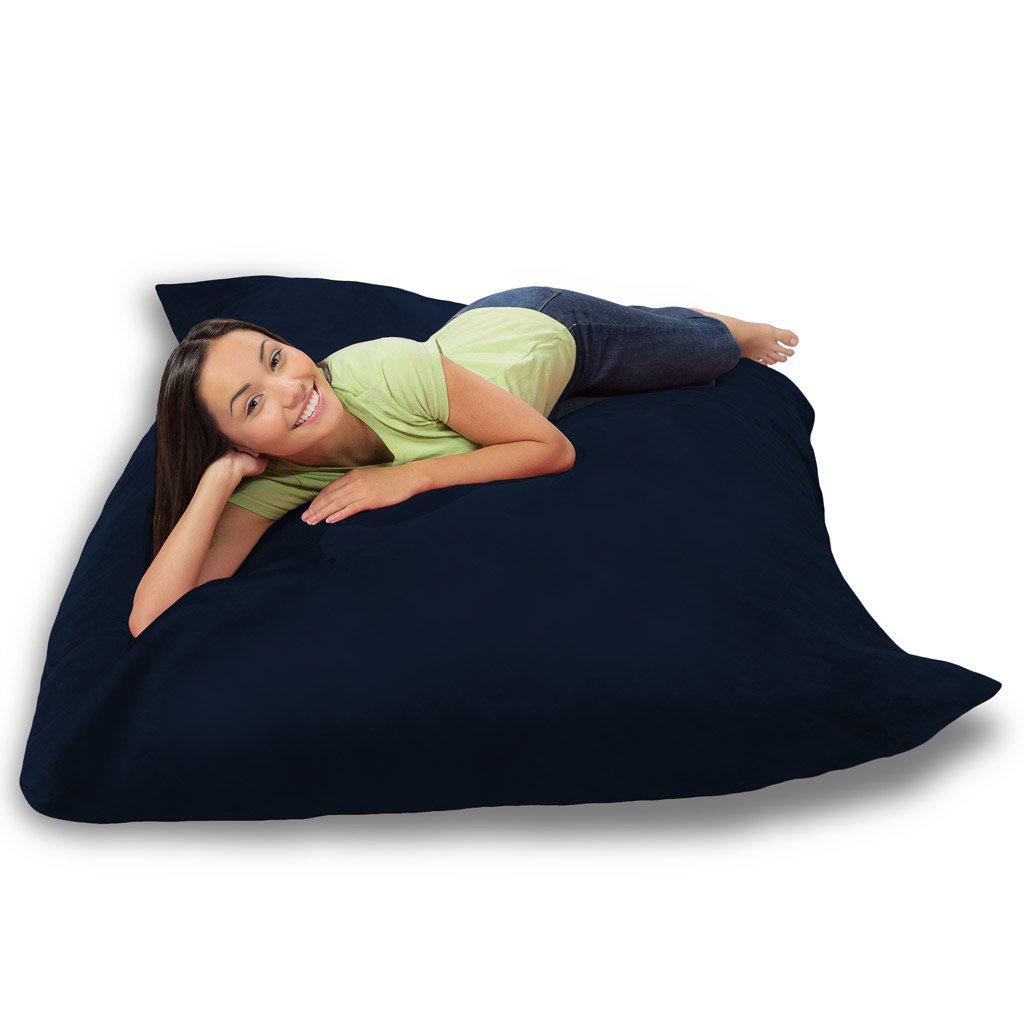 Comfy Sacks Huge Pillow Memory Foam Bean Bag Chair, Navy Micro Suede