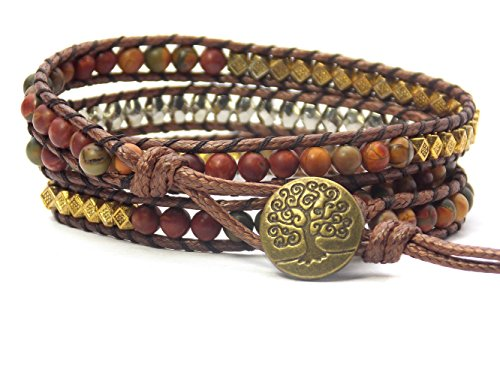 Tree of Life Bracelet Picasso Jasper Beaded Wrap (Bronze Button)