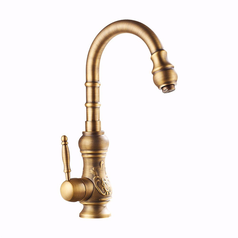 TS-nslixuan Carved Faucets, All Copper Antique, Antique, Wire Drawing, Electroplating, Super Corrosion Resistant, Rust Resistant, Durable, New European Style Basin Faucet.