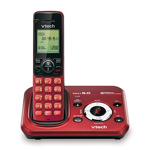 VTech TR16-2013 FoneDeco DECT 6.0 Cordless Phone with Digital Answering System and Caller ID, Expandable up to 5 Handsets, Wall-Mountable, Red