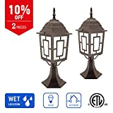 in Home 1-Light Outdoor Post Lantern L05 Series Traditional Design Bronze Finish Frosted Glass Shade (2 Pack), ETL Listed