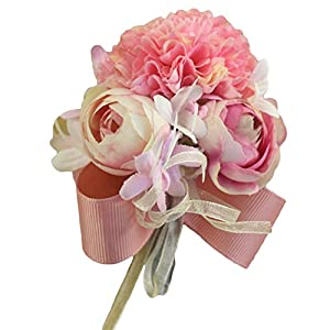 Estyle Fashion Wedding Prom Artificial Flower Wrist Corsage Bridal Bridesmaids Bridegroom Brooch Bracelet Mens Ladies Boutonniere 78