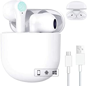 Wireless Earbuds Bluetooth 5.0 Headphones in-Ear CVC8.0 Noise Cancelling HiFi Stereo IPX5 Waterproof Headsets with Fast Charging Case for Apple AirPods Pro iPhone/Android (White)