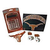 University Texas Longhorns Bundle - 1× Collegiate Series UT Solar-Powered Calculator, UT Longhorns Decal, Longhorn Shaped Cookie/Pancake Cutter & 2 UT Logo Money Clips - (5 Items)