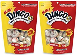 (2 Pack) Dingo Mini - White 2.5 Inch, 21 Bones each
