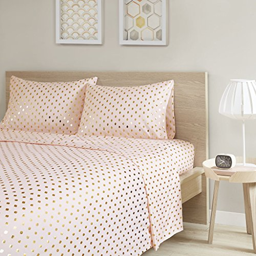 (Intelligent Design Gold Metallic Dot Printed Ultra Soft Hypoallergenic Microfiber Glam Chic Cute Sheet Set Bedding, Twin Size, Blush 3 Piece )