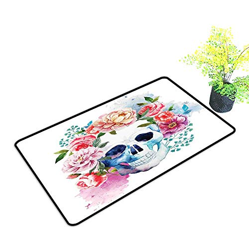 Diycon Non-Slip Door mat Skull Funny Skull with Colorful Floral Head Victorian Style Dead Skeleton Graphic Art Print W30 xL39 Easy to Clean Carpet Multi -