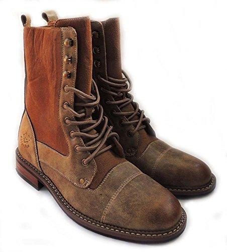 Nouveaux Hommes 8 Pouces De Haute Cheville Bottes Militaire Style De Combat Lacer Chaussures Mfa-801025 / Marron