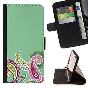 For Apple Apple iPhone 4 / iPhone 4S Case , Indian Diseño floral verde rosada minimalista- la tarjeta de Crédito Slots PU Funda de cuero Monedero caso cubierta de piel