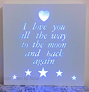 Led Plaque Light Up Box I Love You To The Moon And Back
