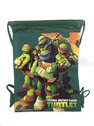 Ninja Turtles Green-Drawstring String School Sport Gym Tote Bag (Turtle Gym)