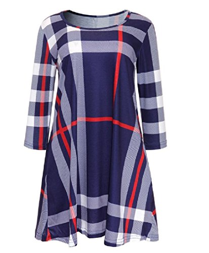 Coolred Plaid Color Length Mid Dress Blue Irregular Women Spell Stripe Slim 8rYrOIq