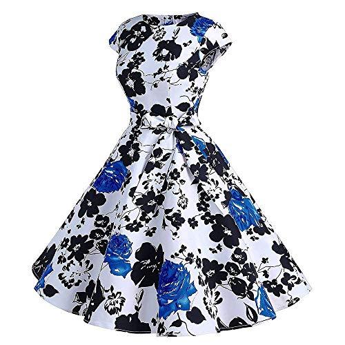 Abiti Prom V Donna Small A colore Dimensione Bianca Sera Elegante Swing Dress Vintage Abito Serale Blu Moda Senza Scollo Stampa Da Maniche Cocktail Casual raOxCwF5rq