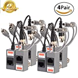 Video Balun,Passive BNC Audio Power Transmitter/Transceiver Connectors Adapter with RJ45 Terminal Via CAT5/5E/6 Twisted-Pair Cable for HD-CVI-TVI/AHD 720P-1080P CCTV Security Camera System 4Pairs/8PCS