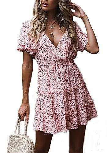 HZSONNE Women's Short Flare Sleeve Floral Print Empire Waist Flowy Boho Midi Tank Dress Strappy A Line Beach Sundresses
