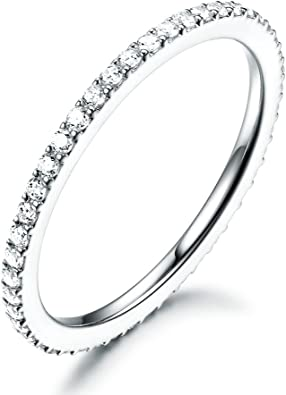 14K Solid Yellow OR White Gold 2MM CZ Half Eternity Wedding Anniversary Band