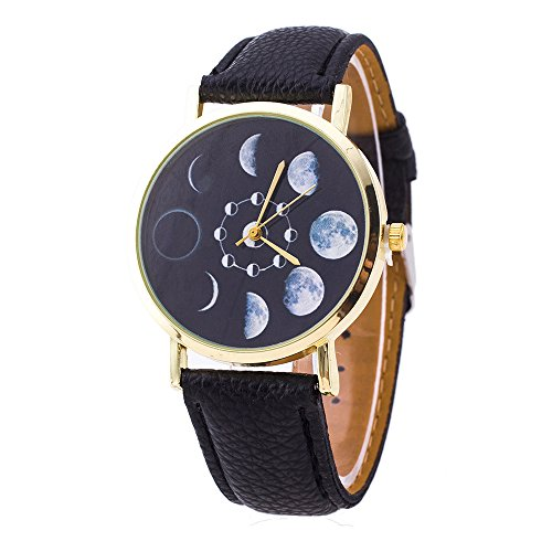 - LYMFHCH Moon Phase Astronomy Space Watch Unisex Leather Quartz - Black Gold