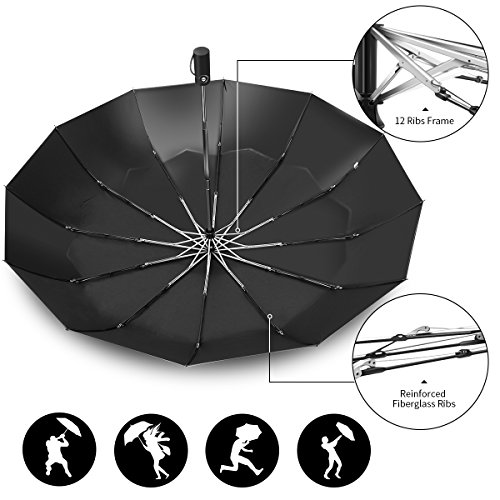 12 Ribs Travel Umbrella Windproof-Compact Umbrella with Auto Open/Close- Simplified Design Umbrella for Men&Women Ruxy Humy (Black) by Ruxy Humy (Image #3)
