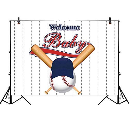 Allenjoy 7x5ft Baseball Baby Shower Backdrop Happiness Batter Up Welcome Baby Boy Birthday Sports Party Decorations Newborn All Star Bunting Banner Photography -