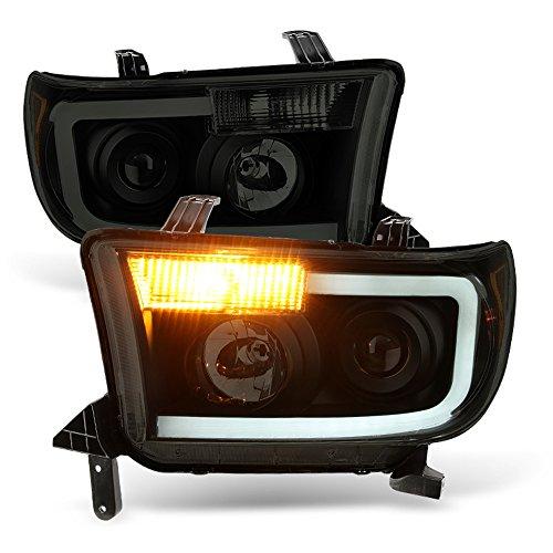 ACANII - For [NEW Design] Blk Smoke 2007-2013 Toyota Tundra LED Tube Projector Headlights Headlamps Driver + Passenger