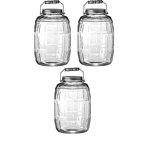 Anchor Hocking 2.5 Gal Barrel Jar with Brushed Aluminum Lid - 3 Jar by Anchor Hocking