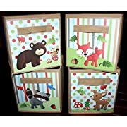 4 Forest Animal Woodland Friends Fabric Bins Boys Girls Bedroom Baby Nursery Organizer for Toys or Clothing 4FB002