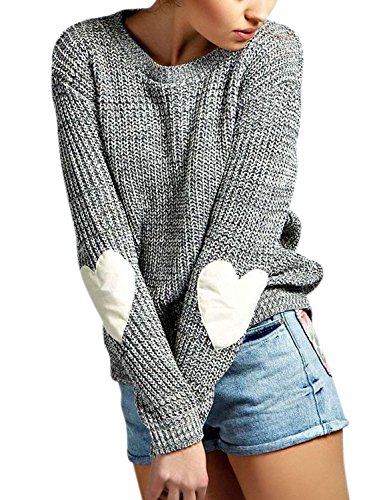 ZXZY Women Heart Pattern Patchwork Long Sleeve Round Neck Knits Sweater Pullover,X-Large,Grey