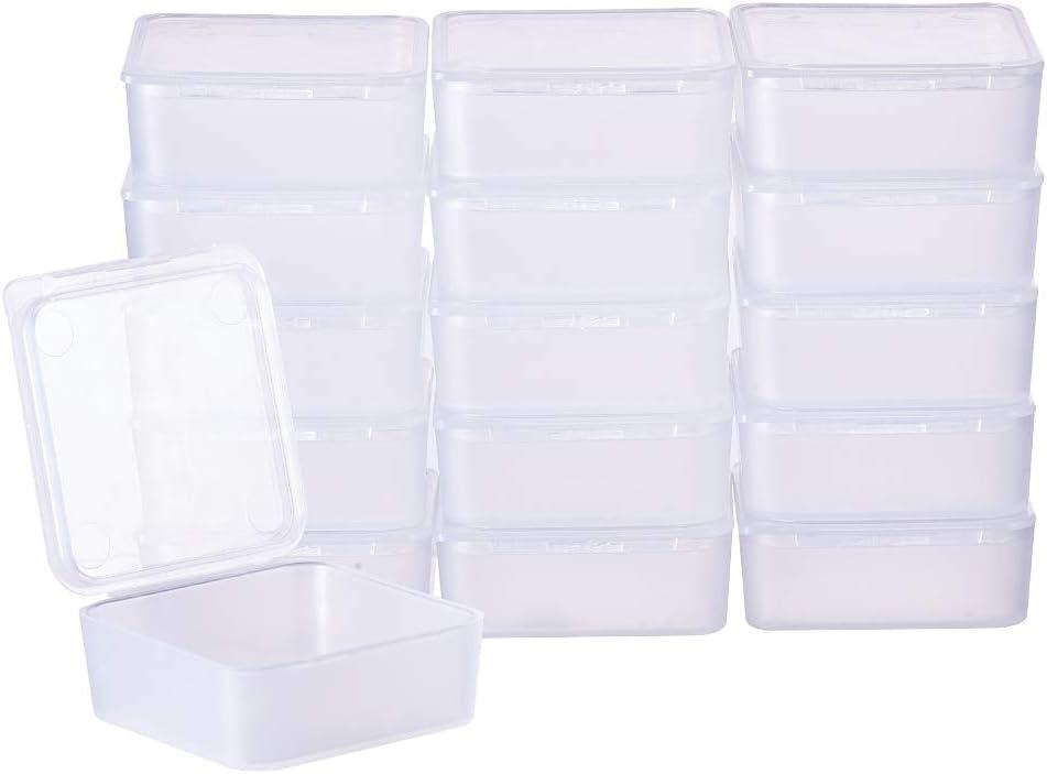 BENECREAT 24 Pack Cajas Transparente de Plástico Organizador de Plástico Transparente Esmerilado con Tapas para Pastillas, Hierbas, Cuentas, Joyería - 3.9x3.9x1.6cm